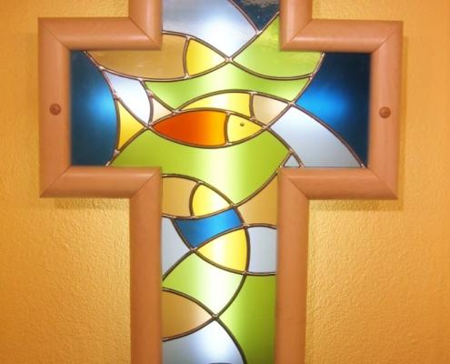 Sakraldesign - Kreuz mit Bleiverglasung